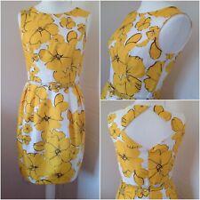 Neues AngebotRömische gelb weiß Blumenmuster ärmellos Bleistift Kleid Gürtel Hochzeit Anlass Gr 12