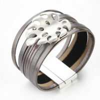 Women Leather Bracelet Wrap Wristband Cuff Multi-layer Crystal Rhinestone Bangle