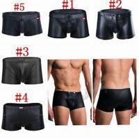 Mens Leather Boxer Brief Shorts Underwear Bulge Pouch Bikini Swim Underpants