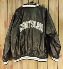 Chrysler Coat Varsity Jacket Wool & Faux Leather Black Gray White Men's Size S