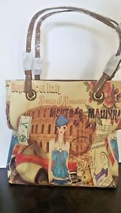 """Art Italy  Tote Women  """"American in Roman"""" Vegan Leather Shades Of Color Bag"""