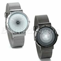 Simple Stylish Stainless Steel Mesh Band Quartz Analog Wrist Watch For Men Women