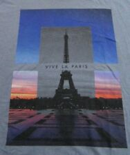 Vive Le Paris Eiffel Tower France Vacation Old Navy SS Bluish Gray T Shirt Sz M