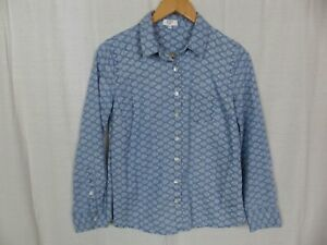 Crown & Ivy Women's Shell Printed Chambray Shirt Button Front Size Medium PETITE