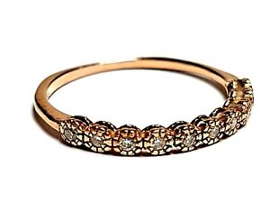 STUNNING SECONDHAND 14ct ROSE GOLD AND DIAMOND 1/2 ETERNITY BAND RING SIZE M
