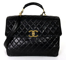 CHANEL Vintage Black Quilted Lambskin Logo Lock Large Briefcase Bag