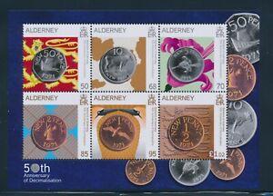 Alderney  Block Münzen 50 Jahre Decimalwährung in ** Postfrisch