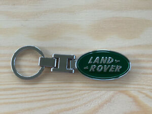 NEW FOR LAND ROVER LOGO KEYCHAIN CHROME/SILVER GREEN 2 SIDED