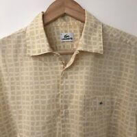 LACOSTE Vintage Men's Yellow Check Button Up Shirt Size Medium 42'' Chest