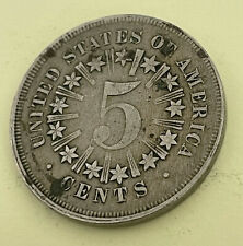 More details for 1867 usa 5 cents shield km#97, copper-nickel type 1 with rays between stars rare