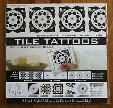 Black & White Tile Tattoos Waterproof Decals Kitchen Bathroom Tile Stickers Pack