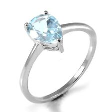 1.3ct Gorgeous Genuine Blue Topaz Pear Solid Sterling Silver Ring Size 9 Ladies