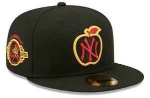 New Era New York Yankees Black Fitted Hat Apple NY 59Fifty Size 7 1/4 Yellow UV