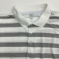 George Polo Shirt Mens XXL Black White Stripe Polyester Short Sleeve Casual Golf