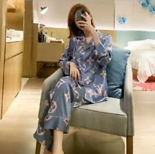 Hot Spring and summer ladies pajamas ice silk long-sleeved cartoon cute Robes