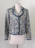 Talbots Blue Floral Tapestry Blazer Jacket Size 6P P6 Velvet Trim Spring Career