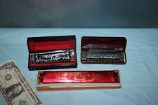 3 Vintage Harmonica Folk Master F# Suzki, Blues Deluxe Fender, Brelli 24 holes