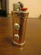HAND HAMMERED COPPER LIGHTER CASE BRITISH PENNIES 1914-19 AND SILVER KNOBS NICE
