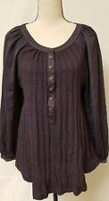Meadow Rue Anthropologie Sz. L Tunic Long Sleeve Knit purple ballon sleeve Satin