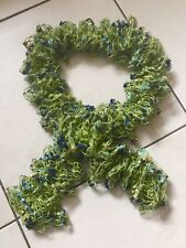 """Green & Blue Gold Silver Hand-knit Boa Scarf 1.5m (5ft) (60"""")"""