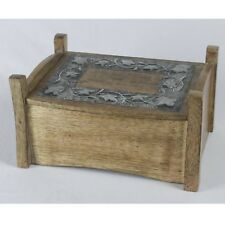 WOODEN JEWELLERY TRINKET BOX 25CM METAL OVERLAY HAND CARVED MANGO WOOD BOX
