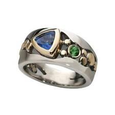 Women Elegant Two Tone 925 Silver Rings for Women Blue Sapphire Ring Size 6-10