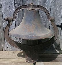 Antique No. 3 Frederick Town Ohio Iron School Church Farm Bell & Crystal Yoke