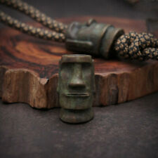 Hand-carved Bronze Easter Island Stone Man EDC Lanyard Bead Paracord Knife Beads