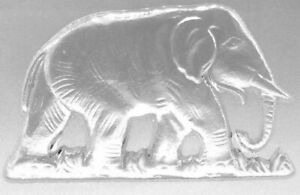 """Elephant Art Glass Paperweight 7"""" x 4 1/2"""" x 5/8""""  Lays Flat or Sits Upright"""