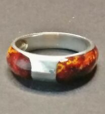 MILOR ITALY ITALIAN 925 STERLING 6g GOLD RED BROWN ENAMEL DOMED BAND RING SZ 10