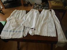 EARLY 20TH CENTURY 2 WHITE COTTON IN SERVICE APRONS & 1 WAITRESS APRON TIE BACK