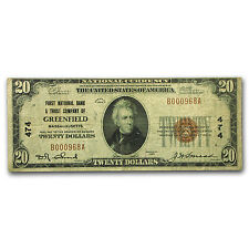 1929 Type 1 $20 Greenfield, MA Fine (CH#474)