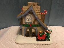 PartyLite P0269 Santa's Workshop Xmas House Elves Box Vtg Village Candle Holder
