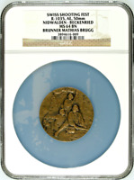 Extremely Rare Swiss Bronze Shooting Medal NGC MS64 R-1035 Beckenried Nidwalden