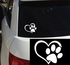 PAW PRINT DOG CAT LOVE HEART CAR WINDOW STICKER PET PUPPY DECAL PAWS ONBOARD