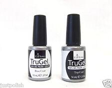 EzFlow Nail Gel Polish TRUGEL LED/UV Base Coat + Top Coat ~ 2 bottles~