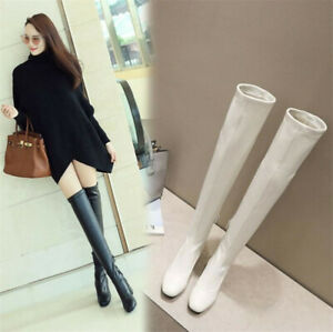 Womens Over The Knee Boots Square Toe Leather High Block Heels Zip Casual Shoes