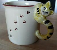 Vintage Porcelain Cat Mug Golden Yellow with Brown Paw prints & Cat Handle Japan