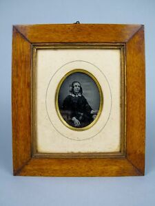 19th Century Daguerreotype Of A Seated Lady In Original Gilt Wood Frame.