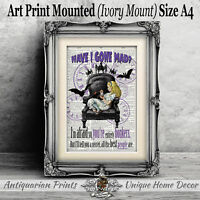 Have I Gone Mad ART PRINT ON ANTIQUE DICTIONARY BOOK PAGE Alice in Wonderland