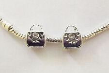 2 Silver Plated Handbag Charm Beads  - For European/Charm Bracelet