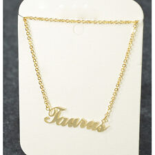 """"""" Taurus """" ZODIAC Pendant Necklace Triple Plated Metal Necklace N1125A Gold"""