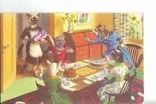 """Vintage Post Card - ALFRED MAINZER CATS - #4916 """"TEA TIME"""" - Free Shipping"""