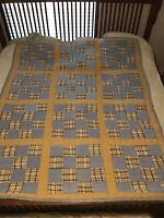"""Vintage Hand Quilted Cotton Fabrics Patchwork Quilt; 75 1/4"""" X 61 1/4"""""""