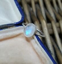 GEMPORIA STERLING SILVER RING, HANDCRAFTED, RAINBOW MOONSTONE, SIZE Q
