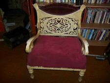 Vintage Antique Unique Wood and Fabric Chair Red Scroll Latice