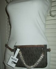 Michael Kors Chocolate Brown Gold Chain Fanny Pack Belt Bag MK Logo LARGE L NWT