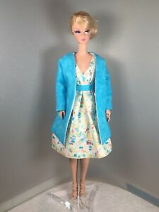 Silkstone Barbie Lined Watercolor Print Cotton Dress and Swing Coat by Solveig