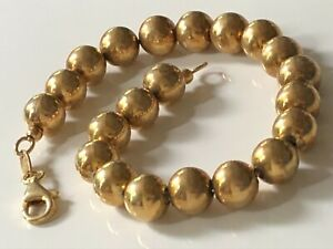 'Dyadema' 18ct gold plated on sterling silver '925' round beaded bracelet 7.92g