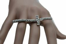 Elastic Band Cross Religious Rhinestones Women Silver Metal Ring Fashion Jewelry